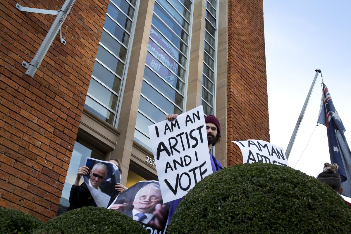 Protest sign - I am an artist and I vote