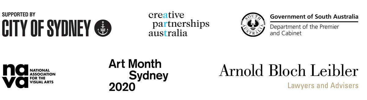Supported by the City of Sydney, Department of South Australia, Creative Partnerships Australia, National Association for the Visual Arts, Art Month Sydney and Arnold Bloch Liebler.