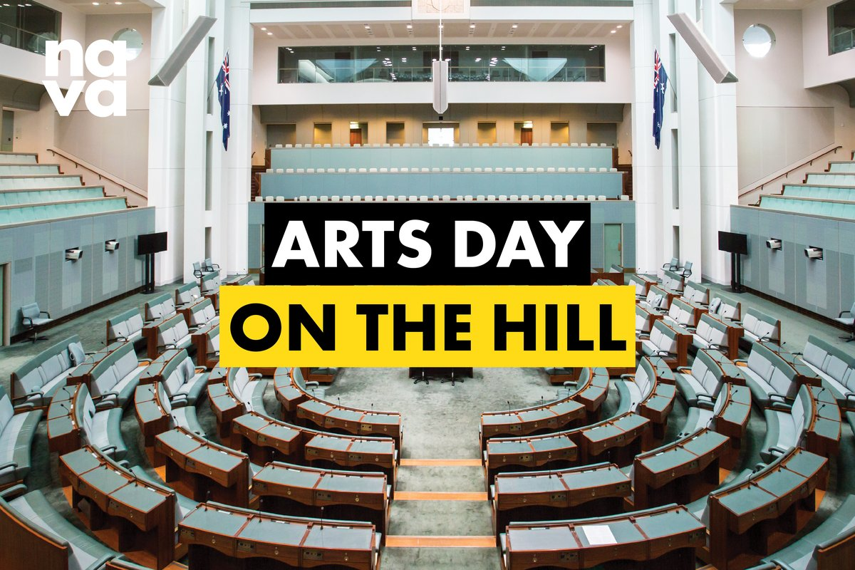 Arts Day on the Hill Logo overlaying a photo of the inside of the House of Representatives