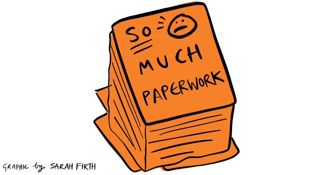 Illustration of stack of paper with 'so much paperwork' written on the top sheet. Illustration is a line drawing filled in with orange.