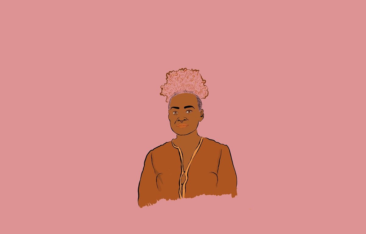 Illustration of Emele Ugavule  on pink background