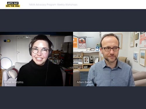 Zoom meeting screen shot of Esther Anatolitis and Adam Bandt
