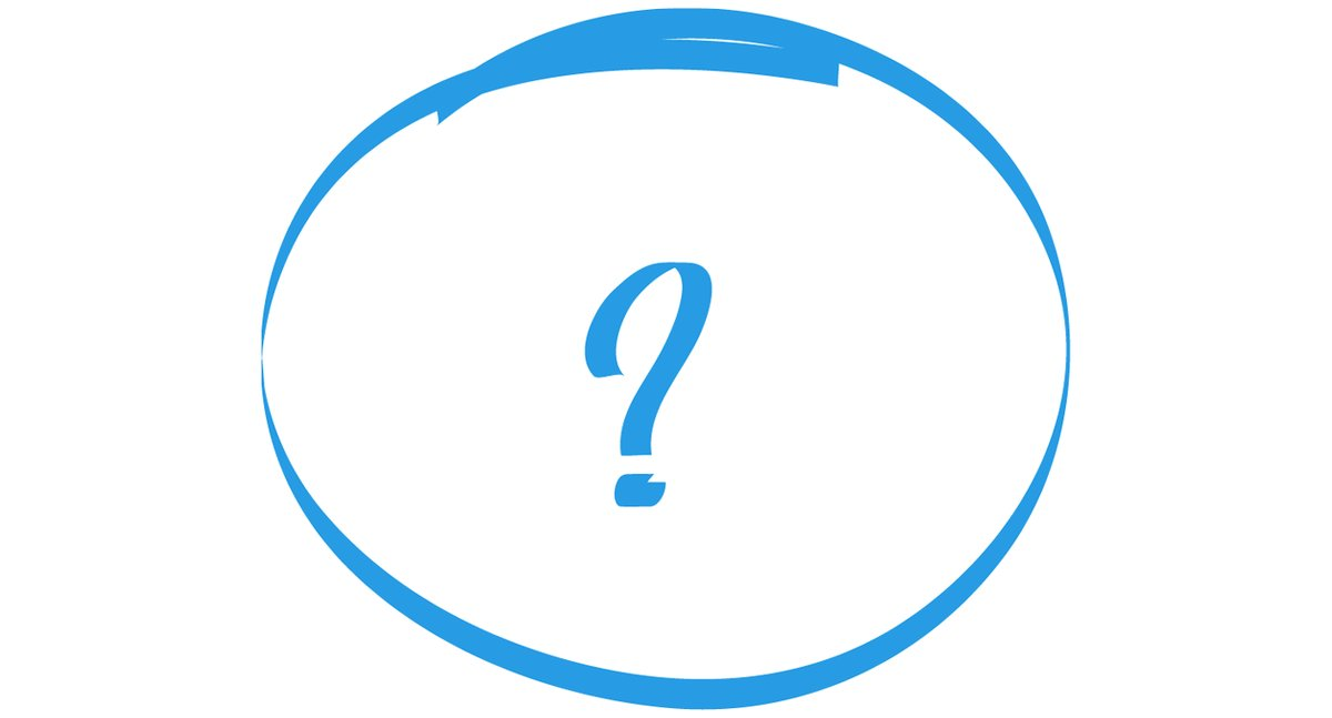 Question mark in blue texta on white background