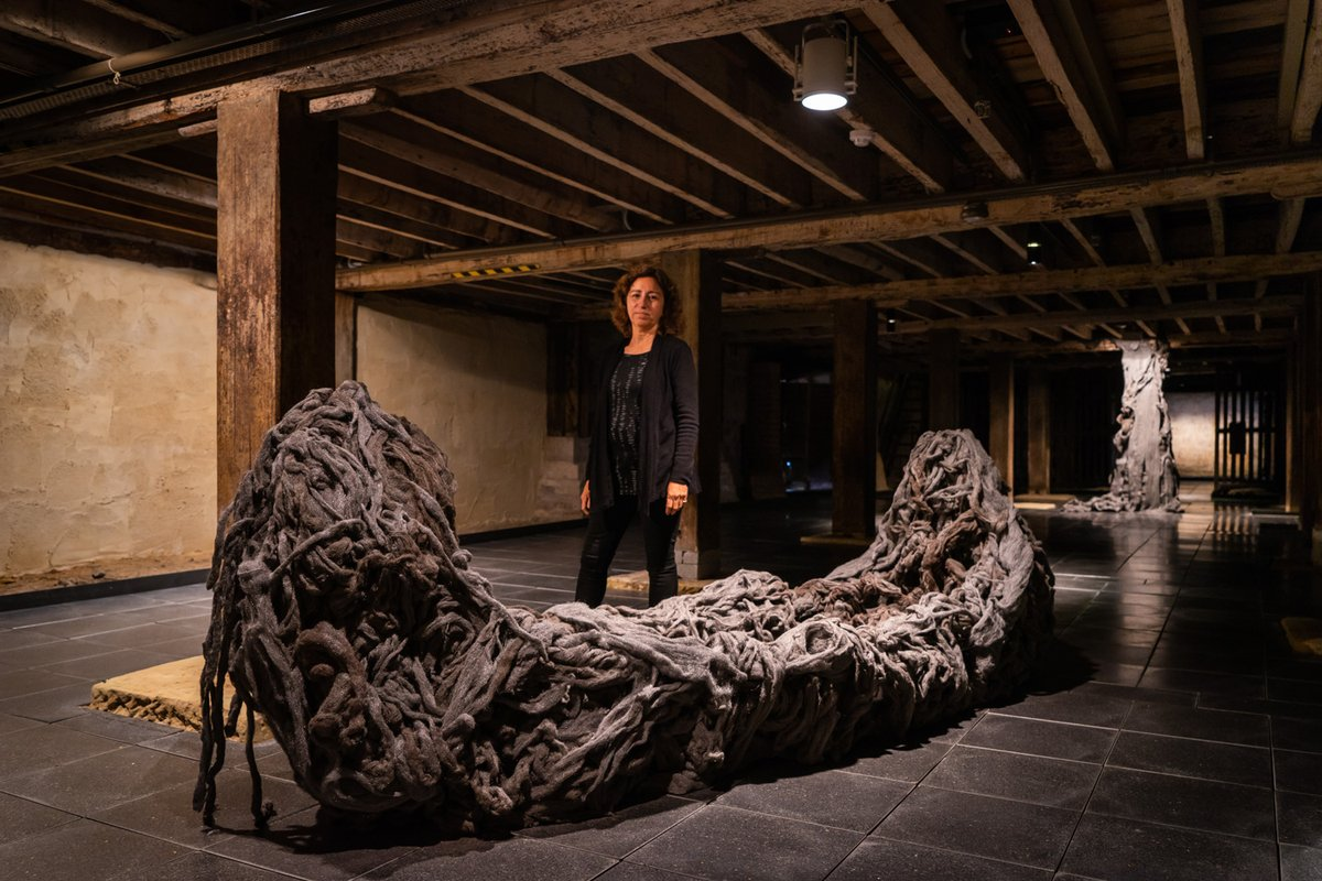 Photo of Mandy standing with her installation of a boat made from steel wool
