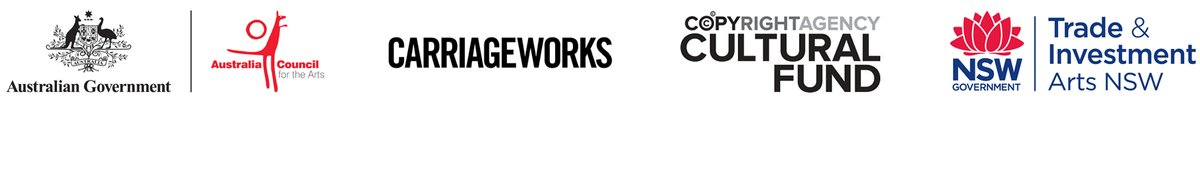 Logos Australia Council, Carriageworks, Copyright Agency Cultural Fund, Arts NSW